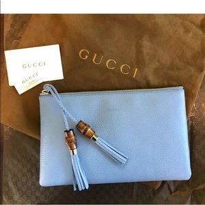 Gucci bamboo bag clutch blue leather tassel